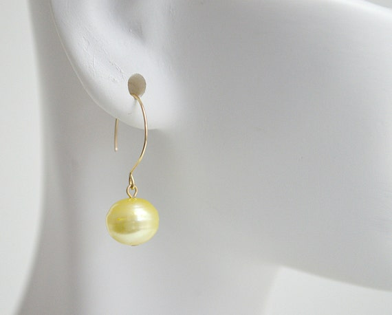 Canary Yellow Freshwater Pearl Earrings with Gold Filled Earwires Plus Matching Necklace and Bracelet