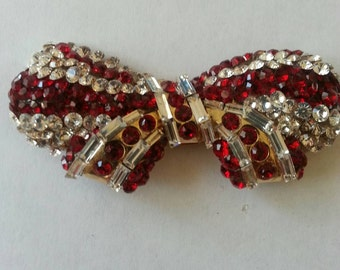 Ruby and Crystal Bow tie Brooch