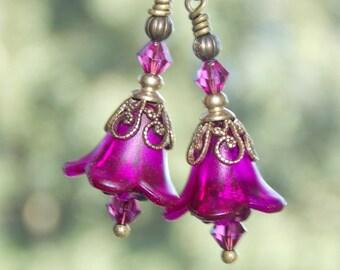 Pink Flower Earrings, 'Mini Fuchsia', Victorian Earrings, Boho Earrings, Drop Earrings, Fuchsia Flower Earrings, Lucite Flower Earrings