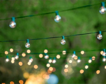 Globe Light Strand - Green or White Cord- Choose your length, Lantern Lights - Wedding / Event Supplies & Decor
