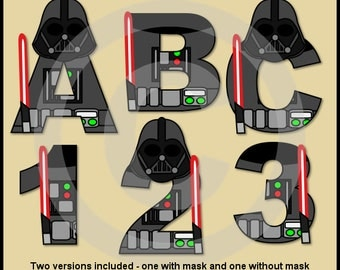 Darth Vader (Star Wars) Alphabet Letters & Numbers Clip Art Graphics