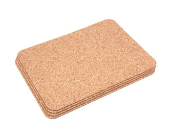 Extra Thick Rectangular Cork Placemats Table Mats Dining 5mm - Pack of 4