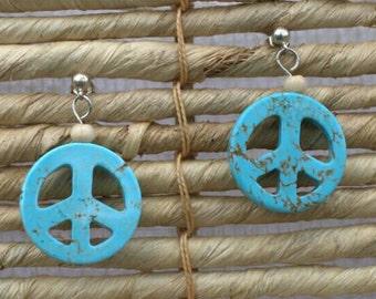 Blue peace sign earrings