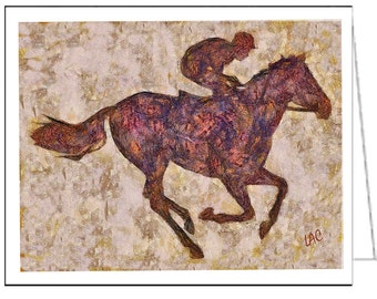 Off to the Races - Horse and Jockey - Set of 6 Blank Notecards and Envelopes By Doggylips