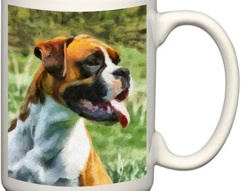 Boxer 'Cooper' 15 Ounce Ceramic Latte Mug By Doggylips