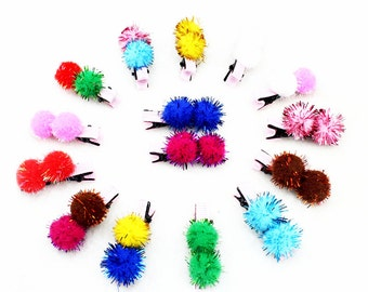 10pcs pack of Pom pom clips, hair clips, hair accessories, kawaii clips assorted mixed colors with free gift bag