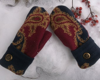 Cozy Sweater mittens in wine and navy paisley design, made from a recycled upcyled sweater
