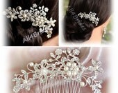 Bridal hair comb, rhinestone, pearls and crystals bridal hair accessories, wedding hair accessory