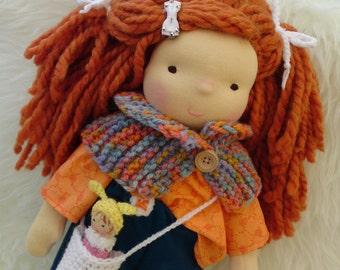 """Waldorf doll, 17.5"""" tall doll steiner doll, organic doll,fabric doll, cloth doll, handmade"""