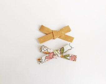 Mustard, Watercolor Floral, baby bows, bows, fabric bows, handmade, toddler bows, nylon headband