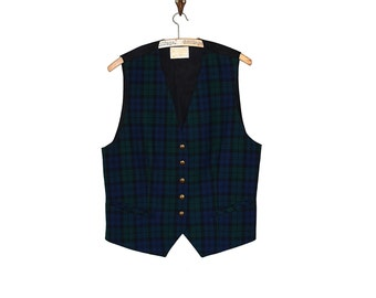 Pendleton Vest - Plaid Fitted Pendleton Mills Navy and Green Wool Vest - 70s Preppy Traditional Gentlemans Vest