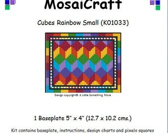 MosaiCraft Pixel Craft Mosaic Art Kit 'Cubes Rainbow Small' (Like Mini Mosaic and Paint by Numbers)