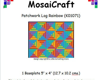 MosaiCraft Pixel Craft Mosaic Art Kit 'Patchwork Log Rainbow' (Like Mini Mosaic and Paint by Numbers)