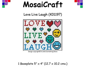 MosaiCraft Pixel Craft Mosaic Art Kit 'Live Love Laugh' (Like Mini Mosaic and Paint by Numbers)