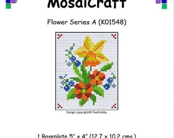 MosaiCraft Pixel Craft Mosaic Art Kit 'Flower Series A' (Like Mini Mosaic and Paint by Numbers)