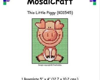 MosaiCraft Pixel Craft Mosaic Art Kit 'This Little Piggy' (Like Mini Mosaic and Paint by Numbers)