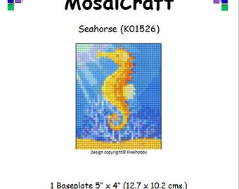 MosaiCraft Pixel Craft Mosaic Art Kit 'Seahorse' (Like Mini Mosaic and Paint by Numbers)