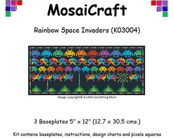 MosaiCraft Pixel Craft Mosaic Art Kit 'Rainbow Space Invaders' (Like Mini Mosaic and Paint by Numbers)