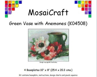 MosaiCraft Pixel Craft Mosaic Art Kit 'Green Vase With Anemones' (Like Mini Mosaic and Paint by Numbers)