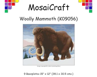 MosaiCraft Pixel Craft Mosaic Art Kit 'Woolly Mammoth' (Like Mini Mosaic and Paint by Numbers)