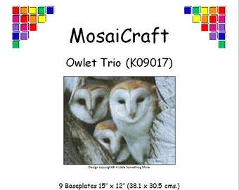 MosaiCraft Pixel Craft Mosaic Art Kit 'Owlet Trio' (Like Mini Mosaic and Paint by Numbers)