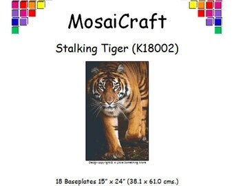 MosaiCraft Pixel Craft Mosaic Art Kit 'Stalking Tiger' (Like Mini Mosaic and Paint by Numbers)