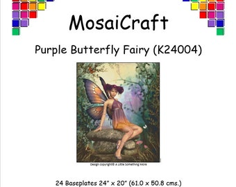MosaiCraft Pixel Craft Mosaic Art Kit 'Purple Butterfly Fairy' (Like Mini Mosaic and Paint by Numbers)