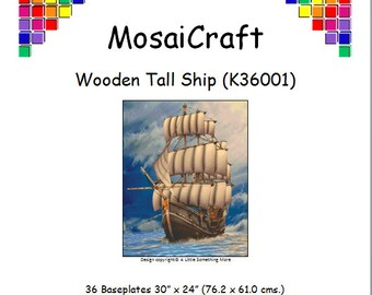 MosaiCraft Pixel Craft Mosaic Art Kit 'Wooden Tall Ship' (Like Mini Mosaic and Paint by Numbers)