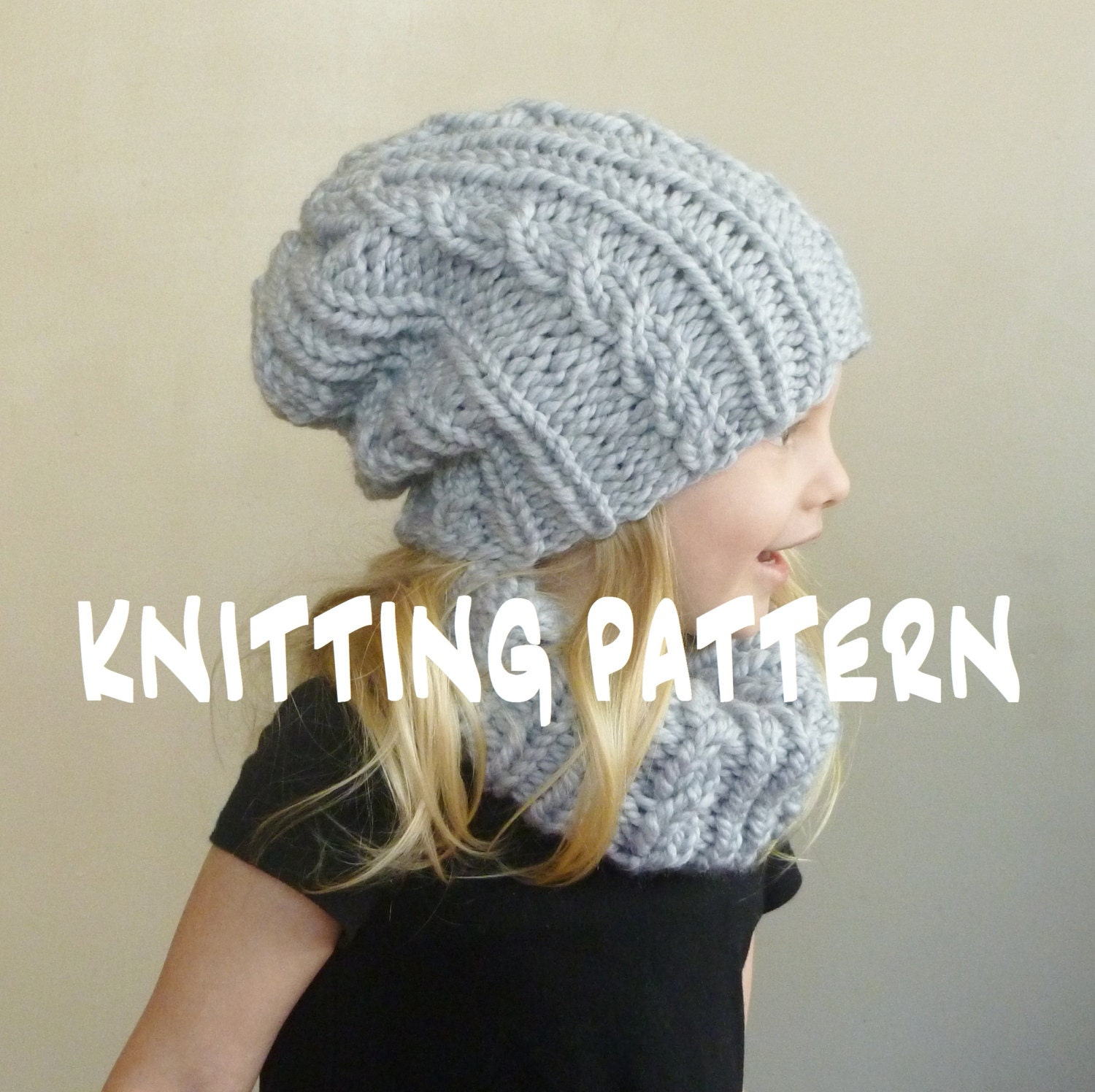 Knitting pattern baby cabled hat cowl set toddler slouchy zoom bankloansurffo Gallery