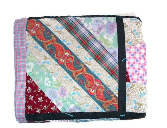 Vintage Quilt Homemade Quilt Lap Blanket Shabby Chic Quilt
