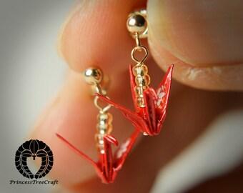 Tiny origami crane stud earrings - red crane