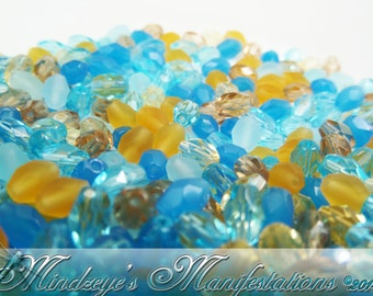 Czech Faceted Oval Sand & Sea Mix 4x6mm