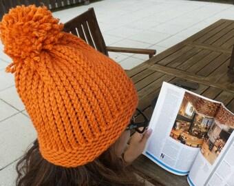 Orange Knit Hat, Pom Pom Beanie, Slouchy Beanie with Pom Pom,  Winter Hat.