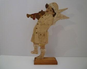 CHERUB. FOLK ART. Handmade. Handpainted. Primitive Style Cherub with Trumpet. Rustic Country Style. Folk Art Cherub.