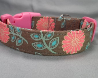Girl Dog Collar, Pink Daisy Flowers on Taupe