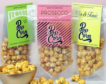 Prosecco, Gin popcorn. alcoholic popcorn, gift for friend. Gourmet snacks.
