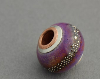 Cored and Capped Sedona Silver Lampwork Big Hole Bead