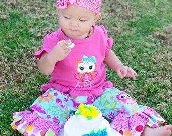 Owl with Bow Outfit Girls Matching Shirt with Ruffle Pants or Shorts and Bow