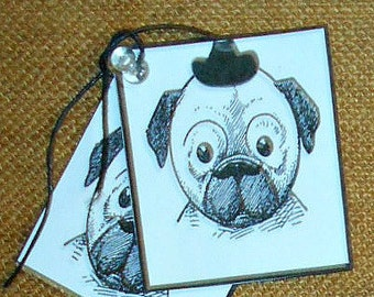 Dog Tags, Moustache / Mustache Dog, Set of 6