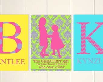 Sisters shared room decor, girls wall art, sisters art, sisters quotes, monogram children art, kids wall art, custom colors, set of 3