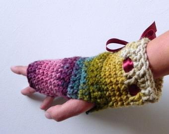 Autumn fingerless crocheted gloves, wrist warmers, women accessories for autumn