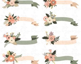 "Floral Banners clipart ""FLORAL BANNER"" clip art. Vintage Flowers.Flower Banners.Wedding. 9 images 300 dpi.14Png files.Instant Download Wd131"