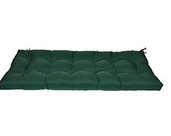 Hunter ~ Forest ~ Dark Green Solid Tufted Cushion for Bench~Swing~Glider, Choose Size