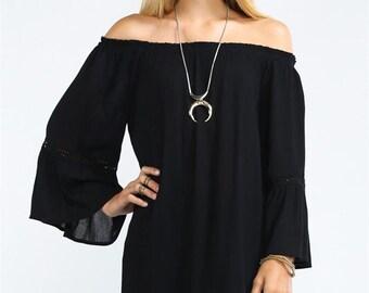 Bell Slv White Mini, Off Shoulder Mini, Off Shoulder Dress, BellSleeve BlackMini, Bell Sleeve Mini, Bell Sleeve Dress