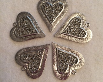 Heart with Flowers Pendants (5)