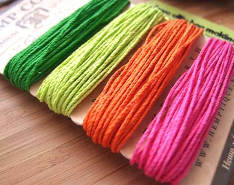 Hemp Cord Card - Shades of Neon Collection - Bright Green Yellow Orange Pink - 20lb / 1mm cord Hemptique Four Pack Premium Quality Hemp Cord