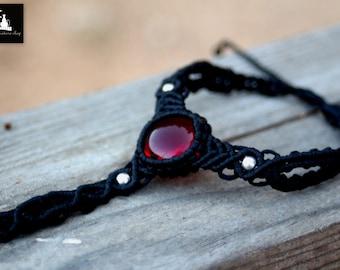 Macrame Slave bracelet, Glass Macrame Ring Bracelet, Boho ring bracelet, ready to ship, Ooak macrame slave bracelet, Macrame Handflower