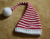 Crocheted Red and White Striped Elf Hat for Baby (3-6 mo)