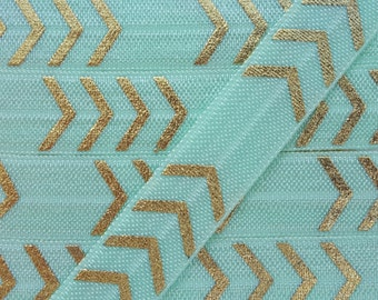 5/8 MINT with Gold Four Chevron Fold Over Elastic