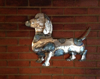 Dixie my Metal dachshund, 3 dimensional wall art/ sculpture